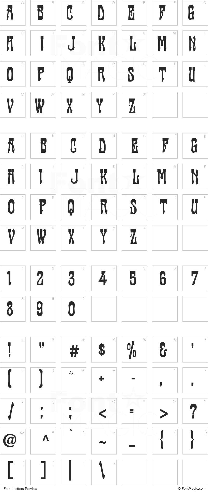 Cabaret Font - All Latters Preview Chart