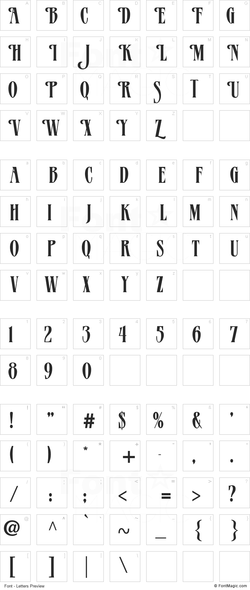 Verve Font - All Latters Preview Chart