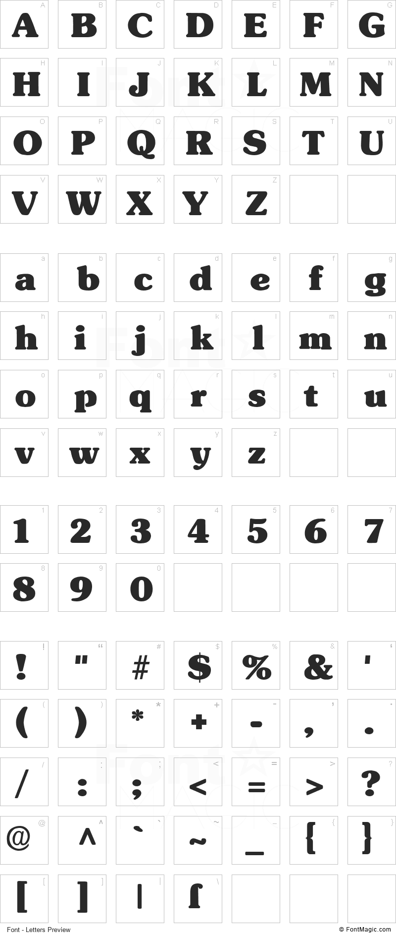 Subway Font - All Latters Preview Chart