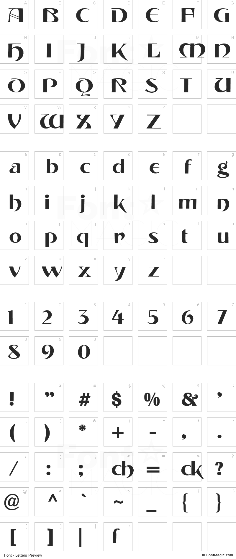 Tintoretto Font - All Latters Preview Chart