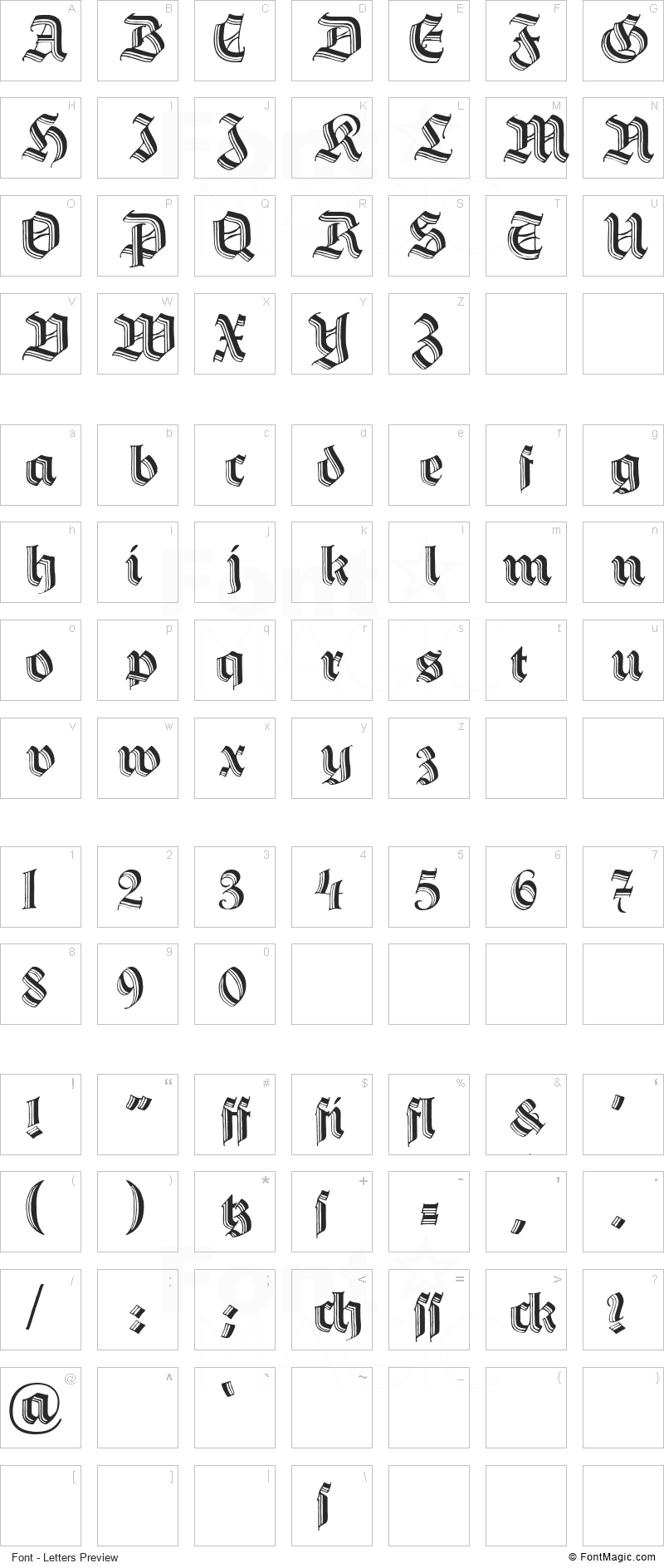 Hermann Gotisch Font - All Latters Preview Chart