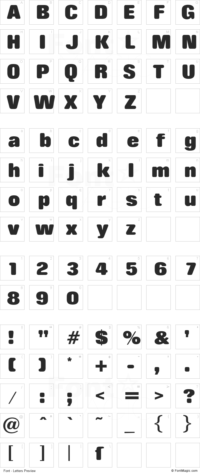 Rolling No One Font - All Latters Preview Chart
