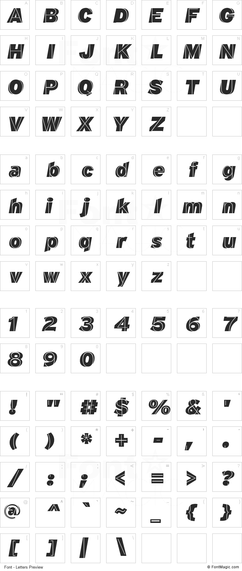 M.F. Plexus Font - All Latters Preview Chart