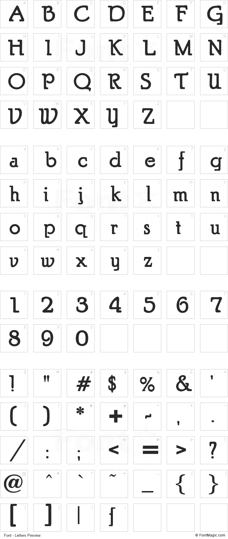Puritan Font - All Latters Preview Chart