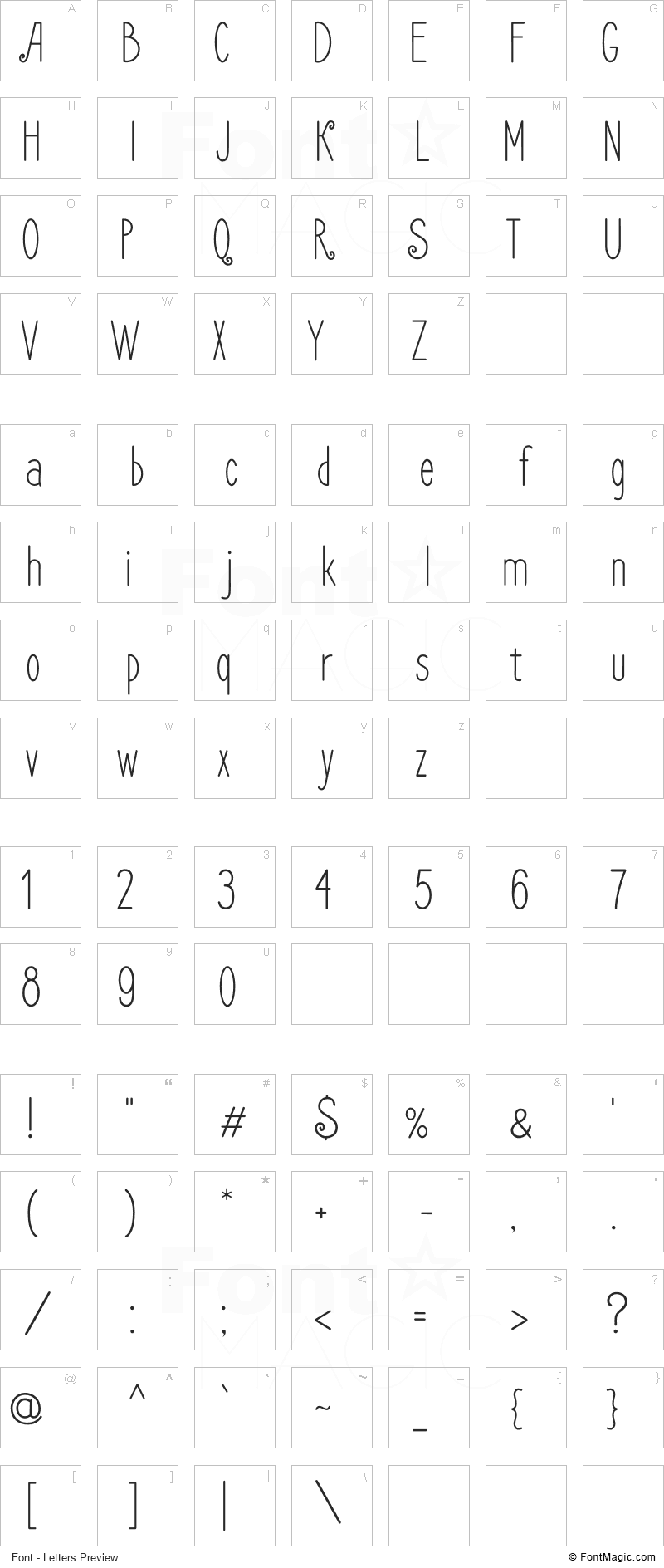 Frenchpress Font - All Latters Preview Chart