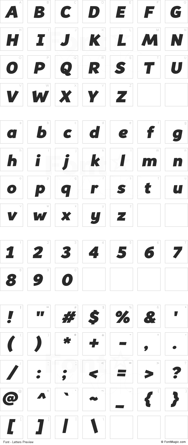 Souses Font - All Latters Preview Chart