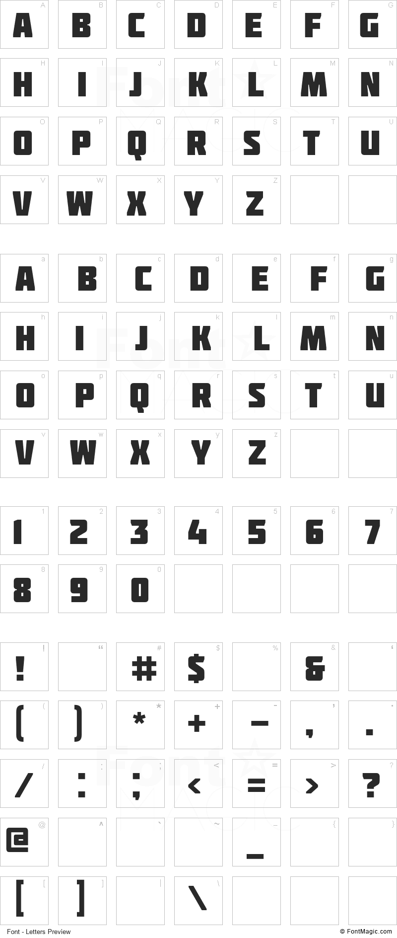 Molot Font - All Latters Preview Chart