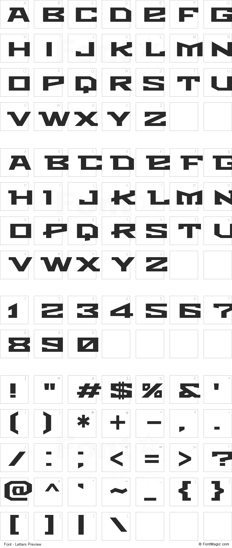 Metro Font - All Latters Preview Chart