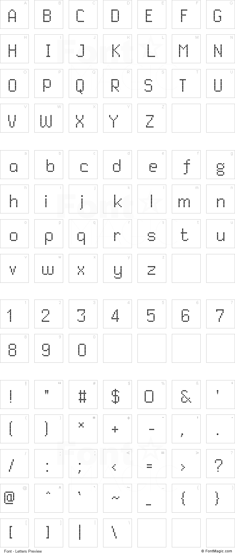 Dited Font - All Latters Preview Chart