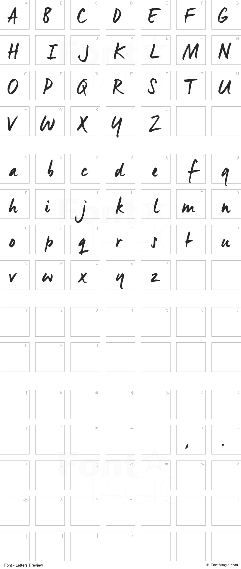 Manus Font - All Latters Preview Chart