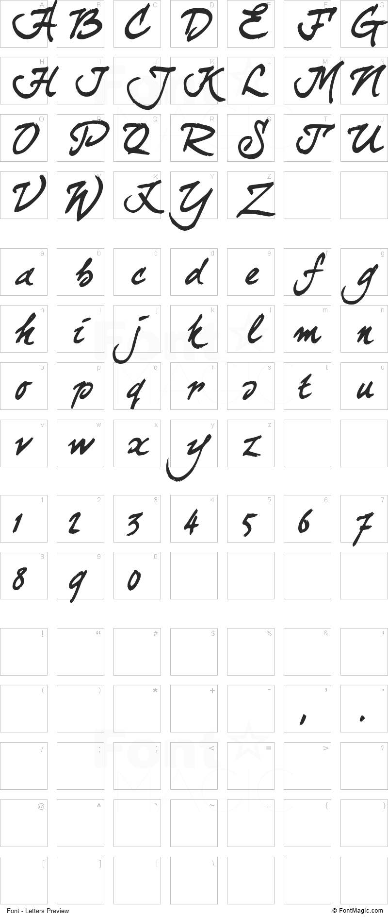 Curly Joe Font - All Latters Preview Chart