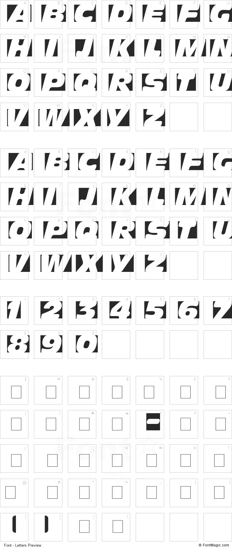 Obliquo Font - All Latters Preview Chart