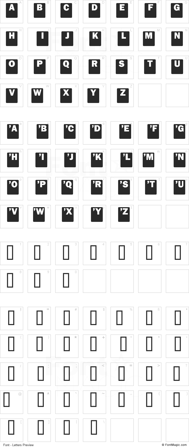 Drop Caps Font - All Latters Preview Chart