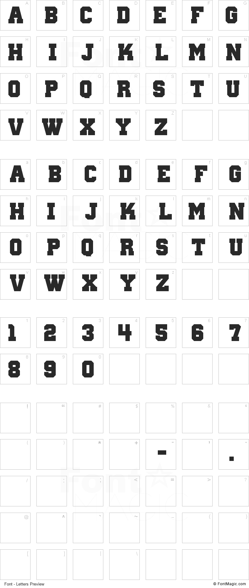 Wanted M54 Font - All Latters Preview Chart