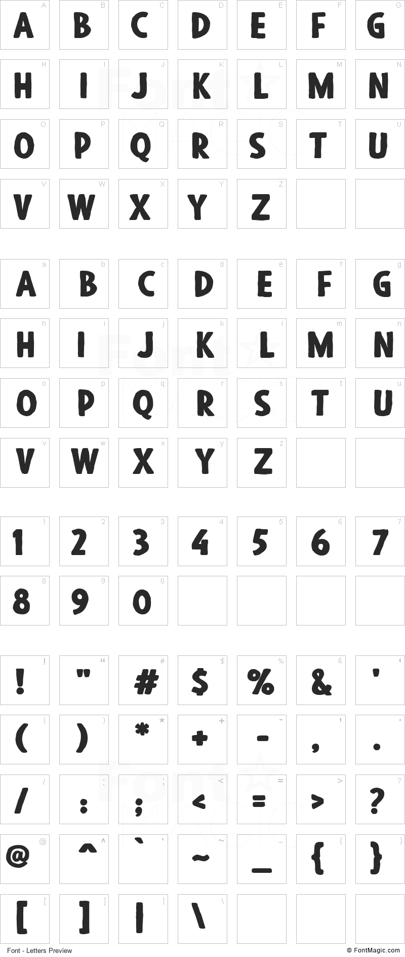 Blackore Font - All Latters Preview Chart