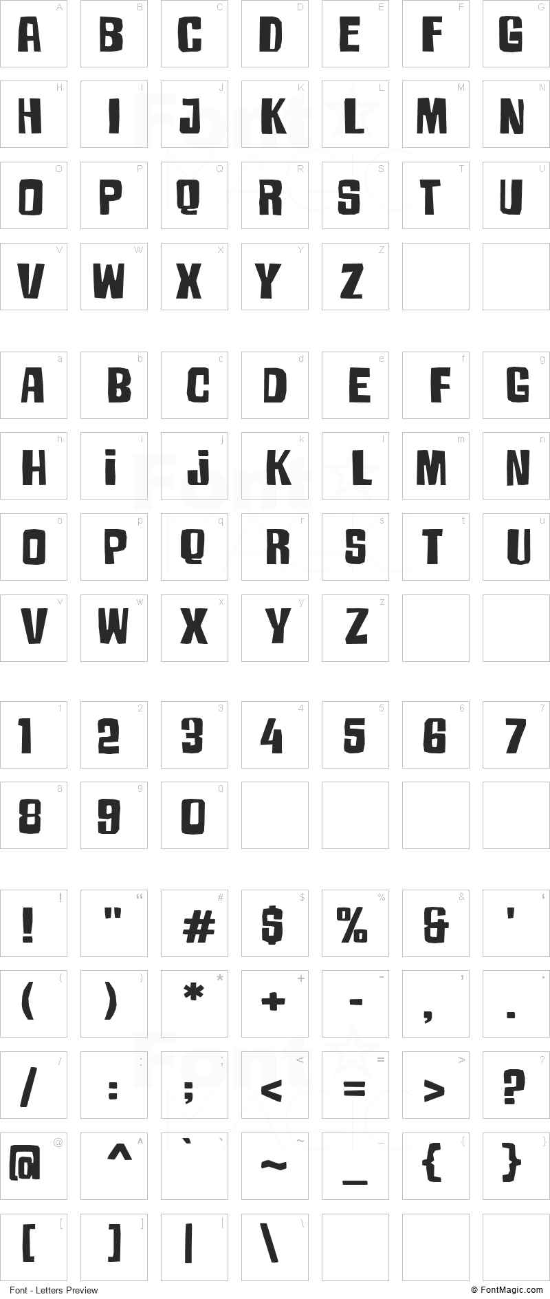 Armageda Font - All Latters Preview Chart