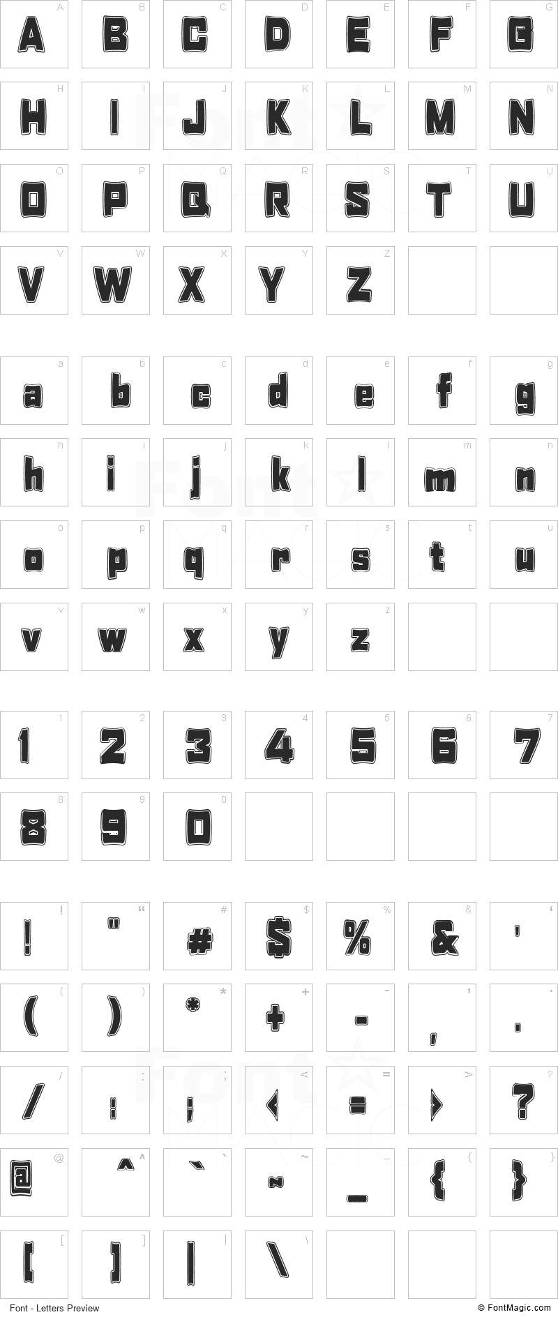 Tabaquera Font - All Latters Preview Chart
