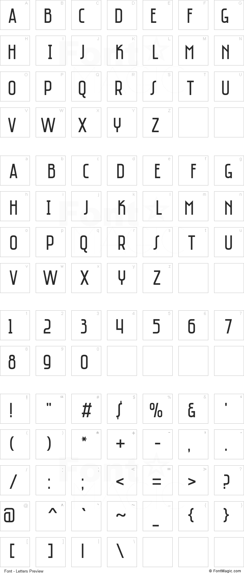 Saniretro Font - All Latters Preview Chart