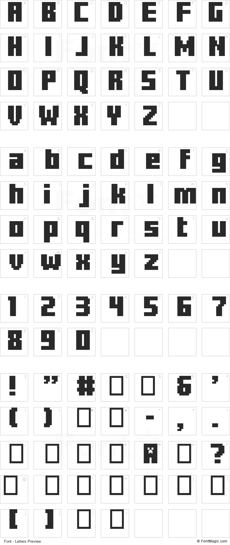 Minercraftory Font - All Latters Preview Chart