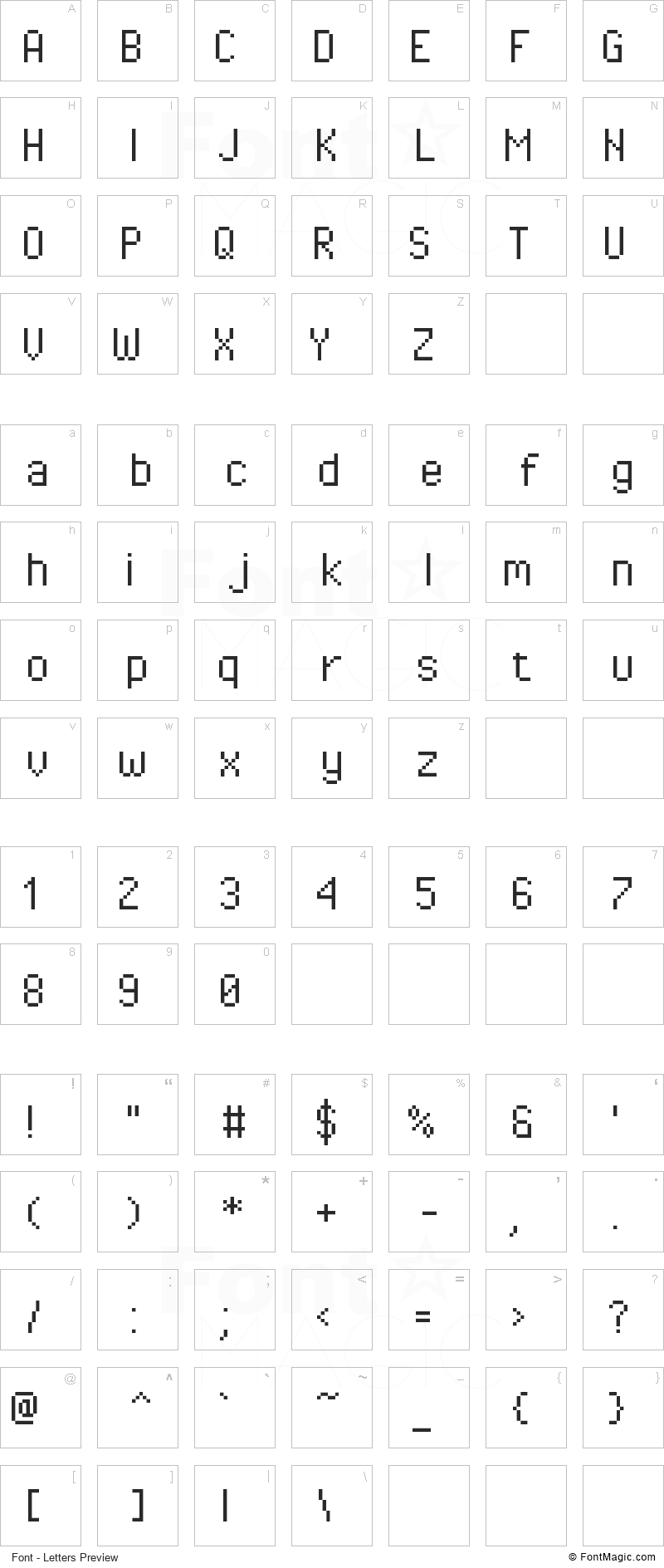 Pixel Operator Font - All Latters Preview Chart