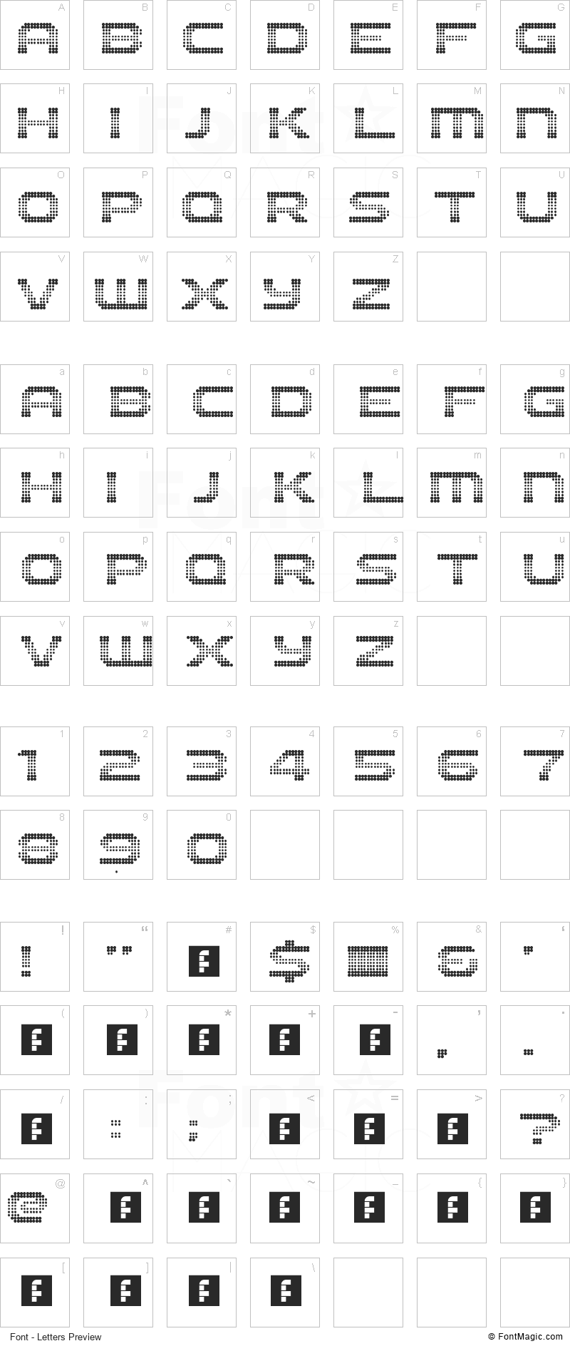 The 2K12 Font - All Latters Preview Chart