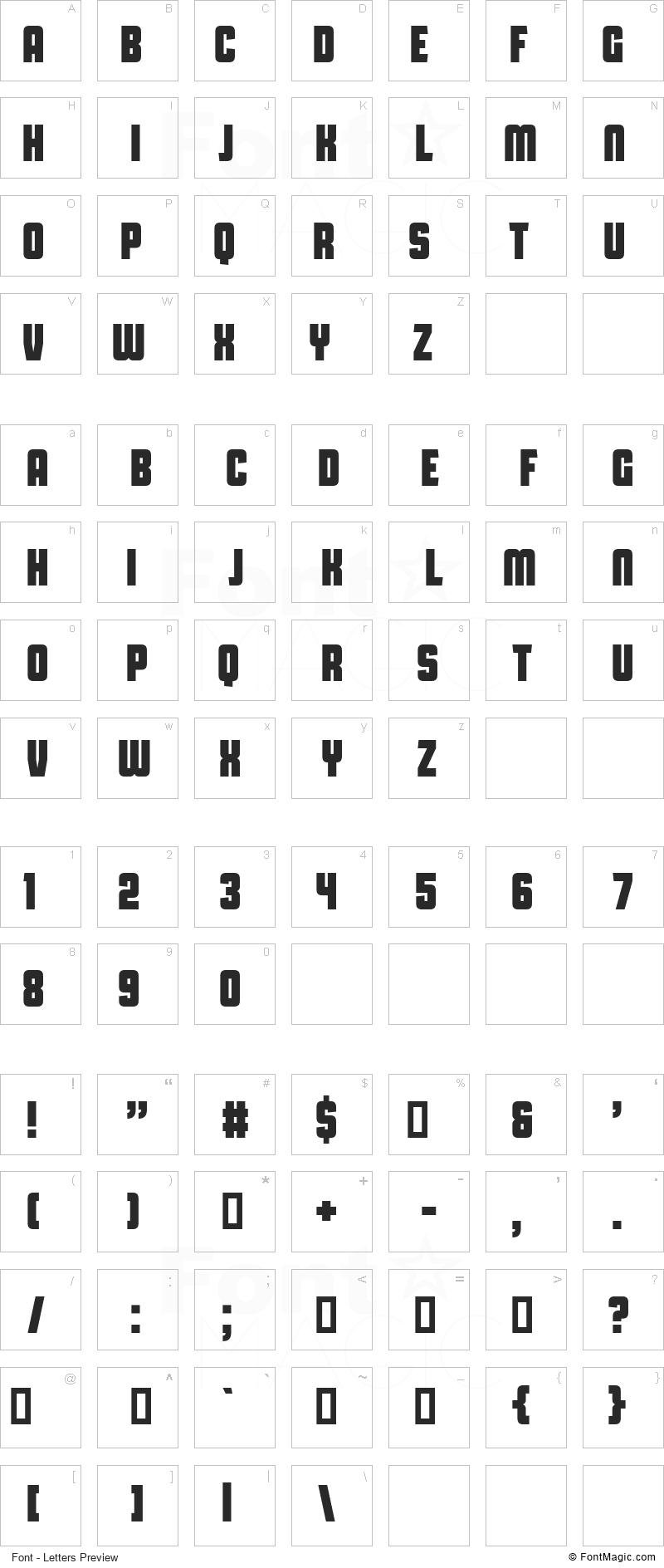 Capital Daren Font - All Latters Preview Chart