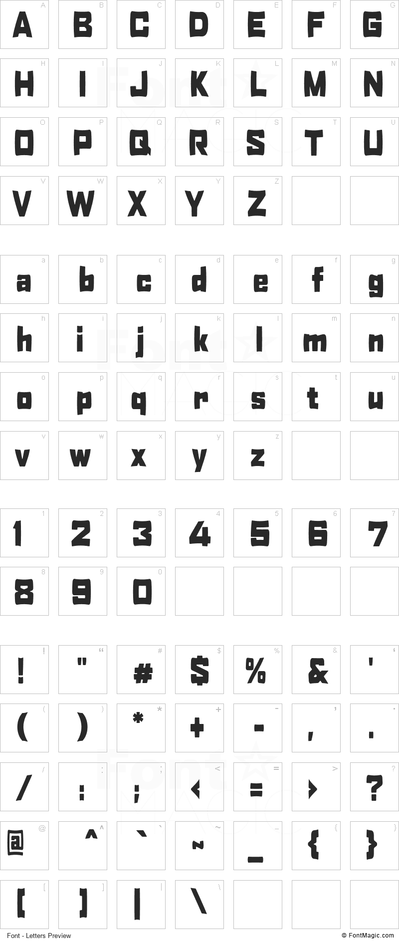 Hobby of night Font - All Latters Preview Chart