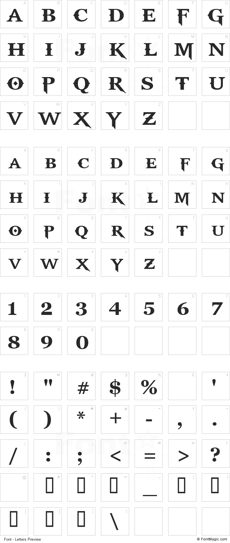 God Of War Font - All Latters Preview Chart