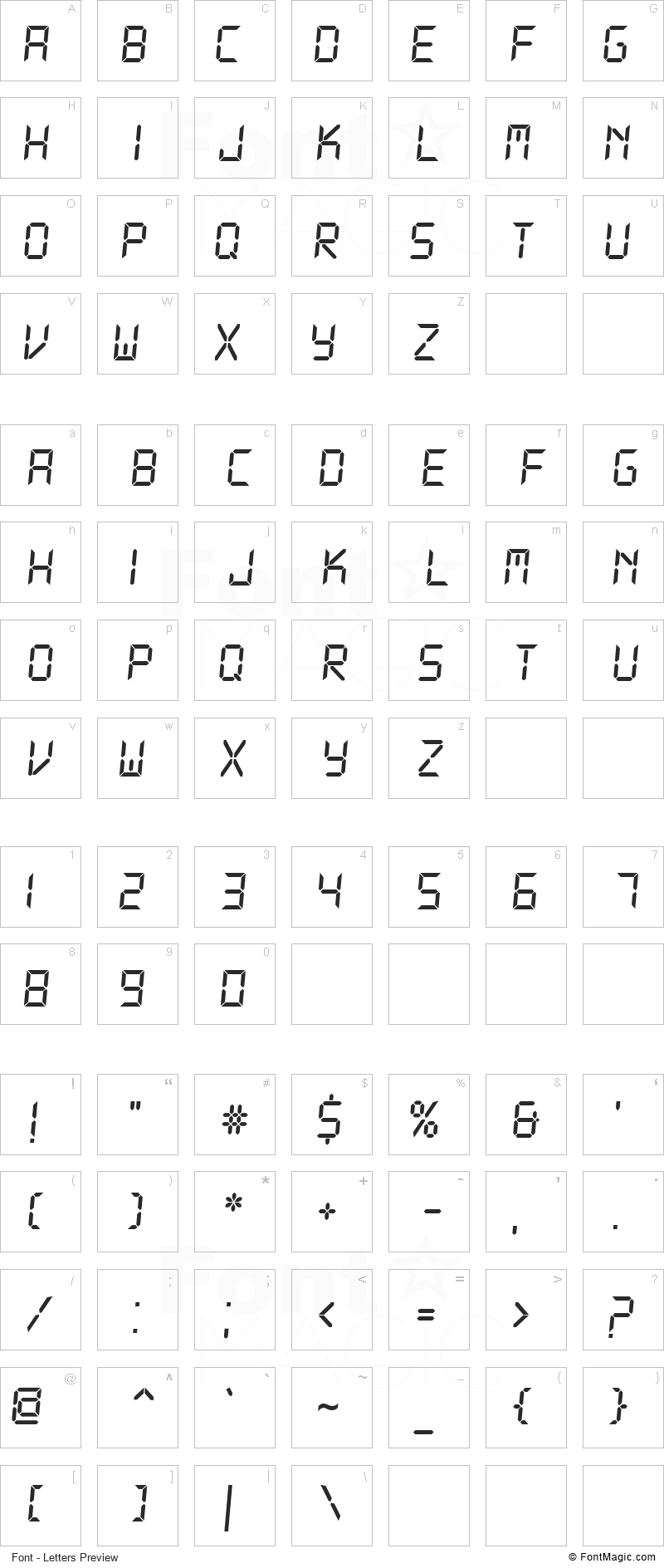 DS-Digital Font - All Latters Preview Chart