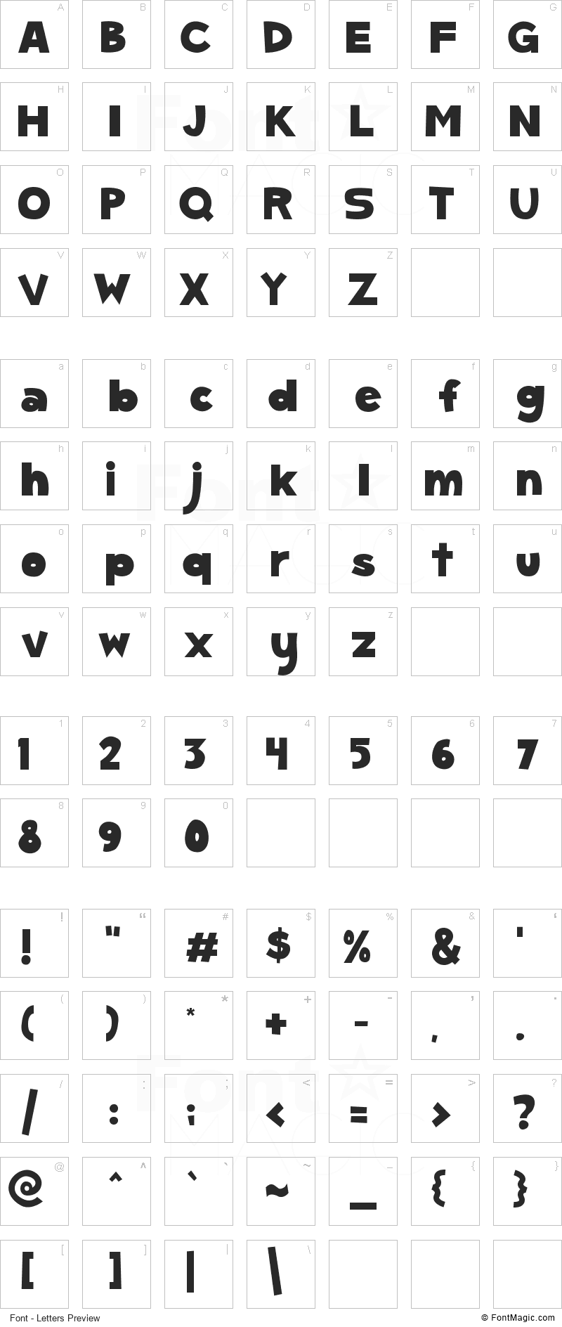 SC Gum Kids Font - All Latters Preview Chart