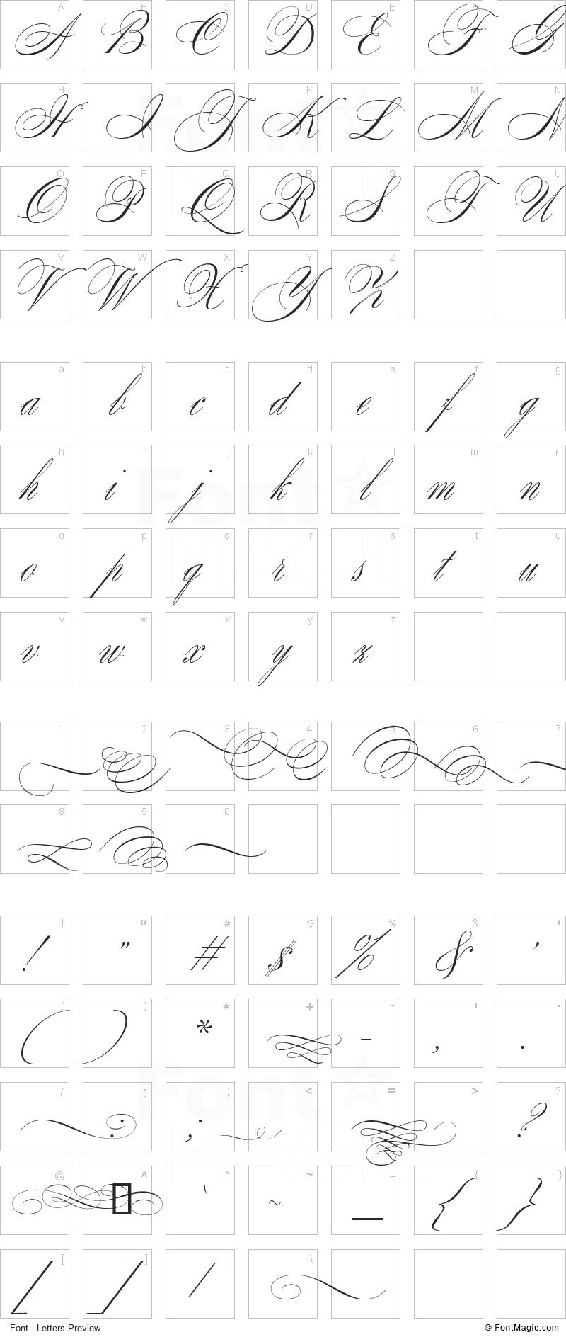 SplendidOrnamenty Font - All Latters Preview Chart