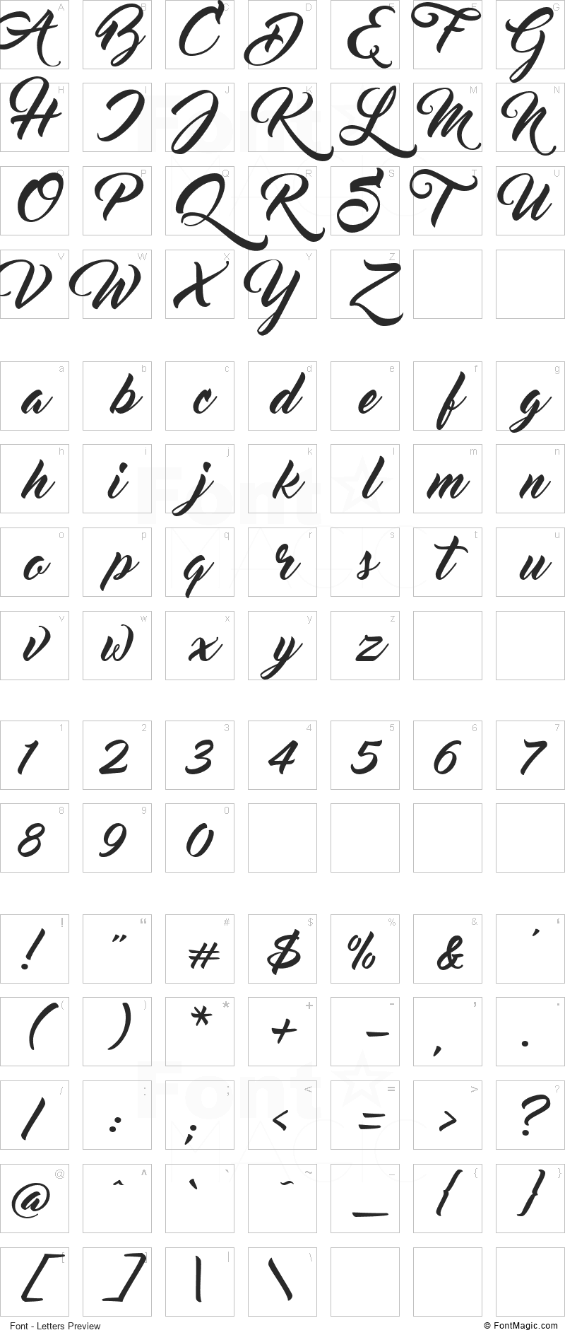 Master Of Break Font - All Latters Preview Chart