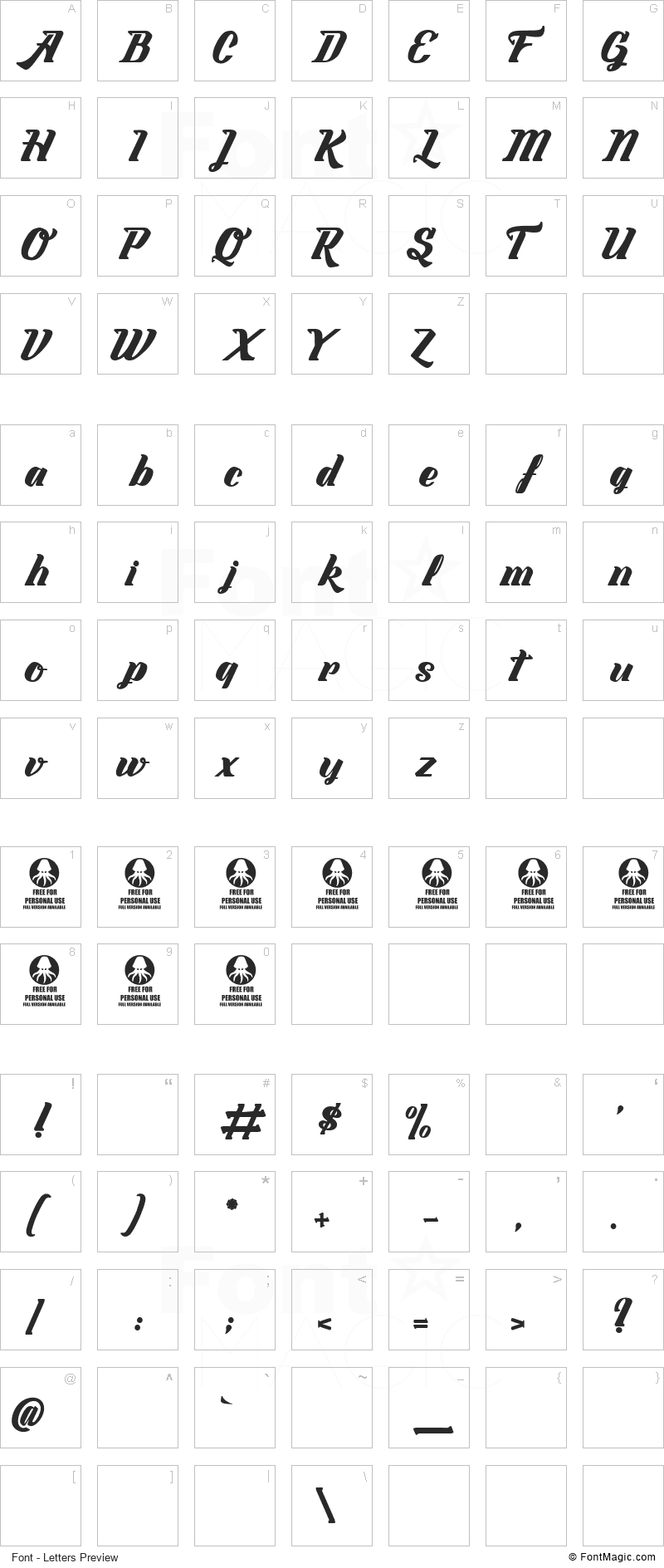 Labyrinthe du Paradis Font - All Latters Preview Chart