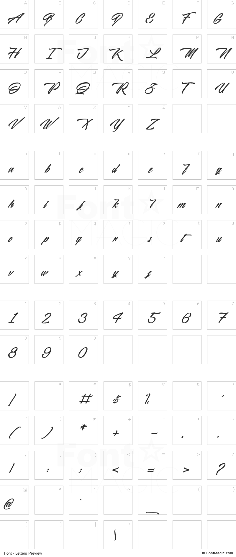 Midnight Street Font - All Latters Preview Chart