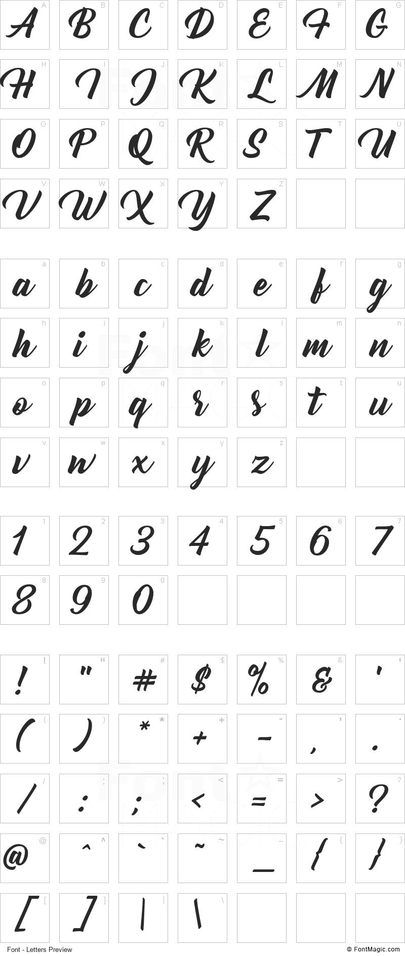 Bernadette Font - All Latters Preview Chart