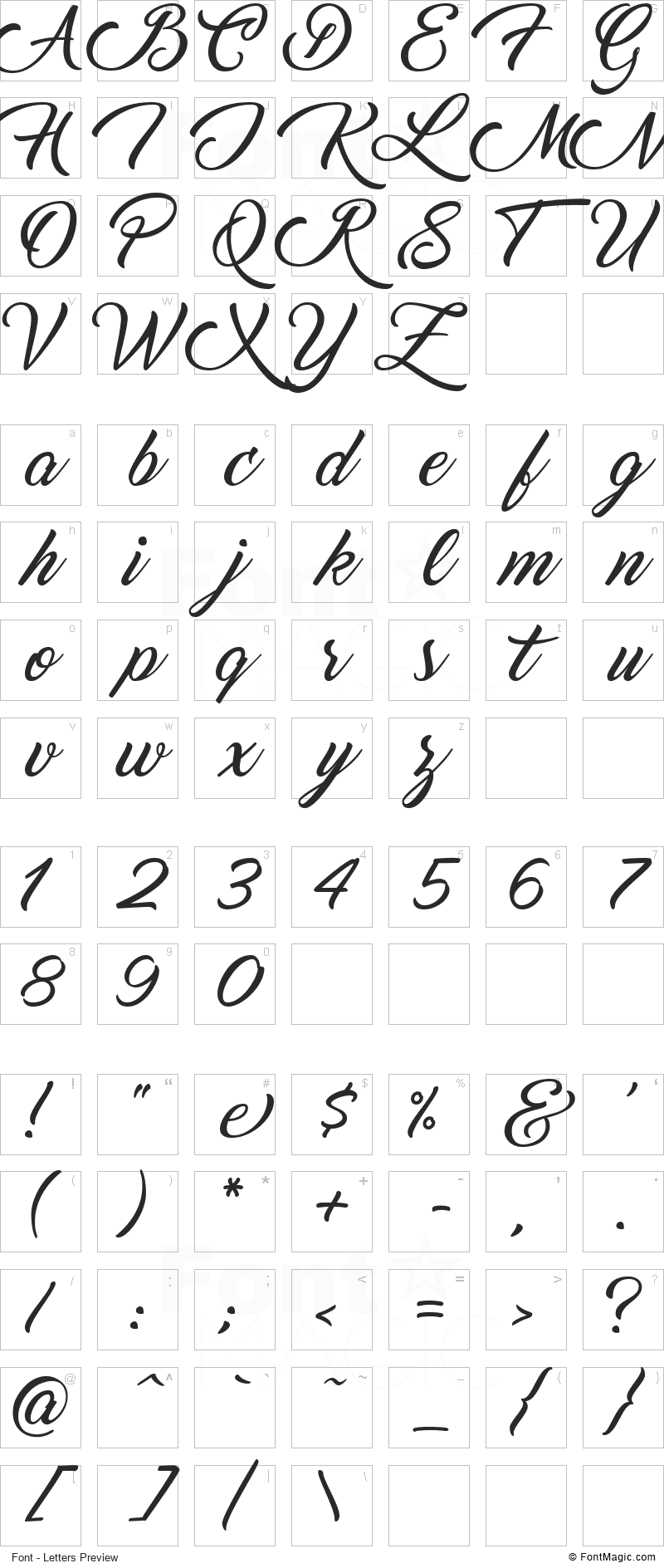 Marguerite Font - All Latters Preview Chart