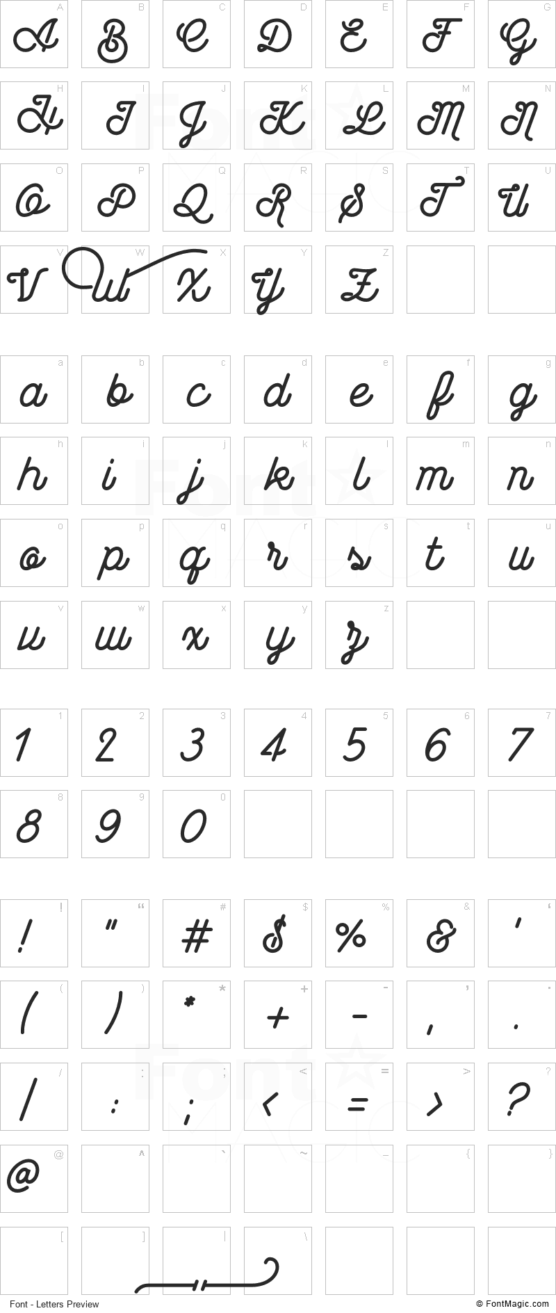Wasted Font - All Latters Preview Chart