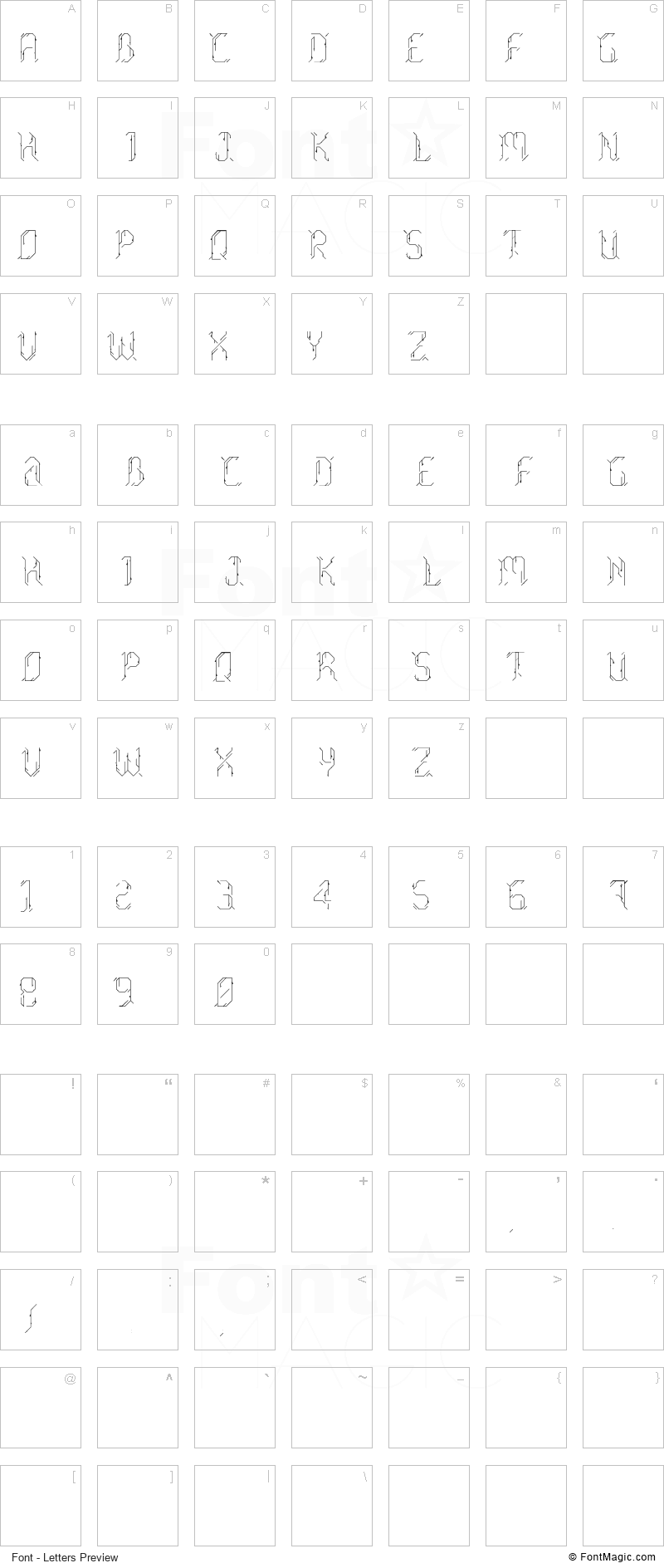 Morgenstern Font - All Latters Preview Chart