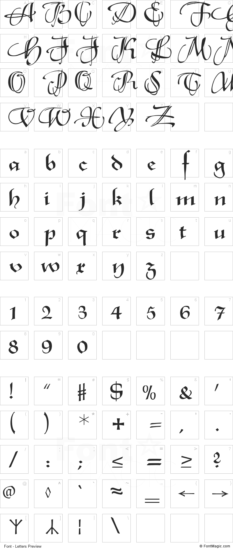 XmasTerpieceSwashes Font - All Latters Preview Chart