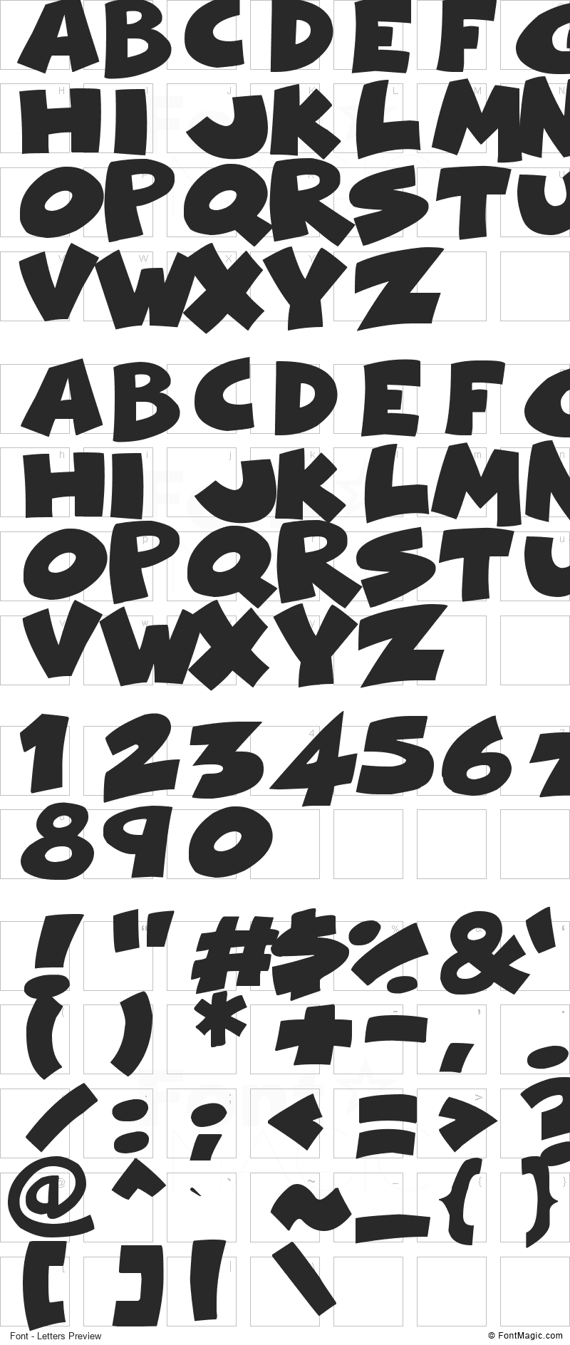 Comical Cartoon Font - All Latters Preview Chart