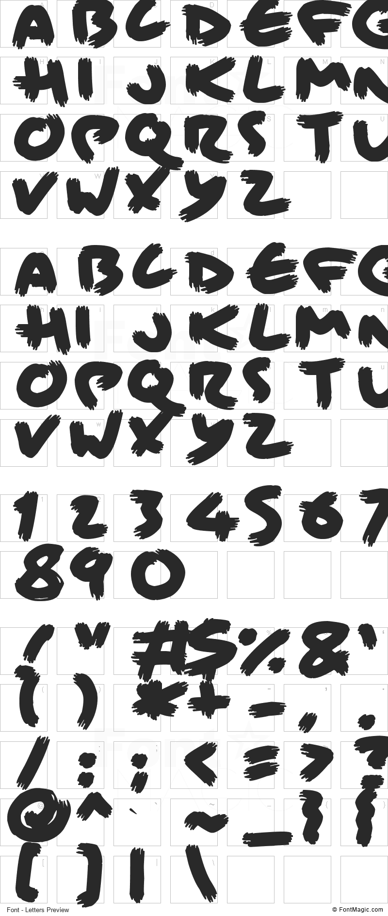 Brisk Bristle Brush Font - All Latters Preview Chart