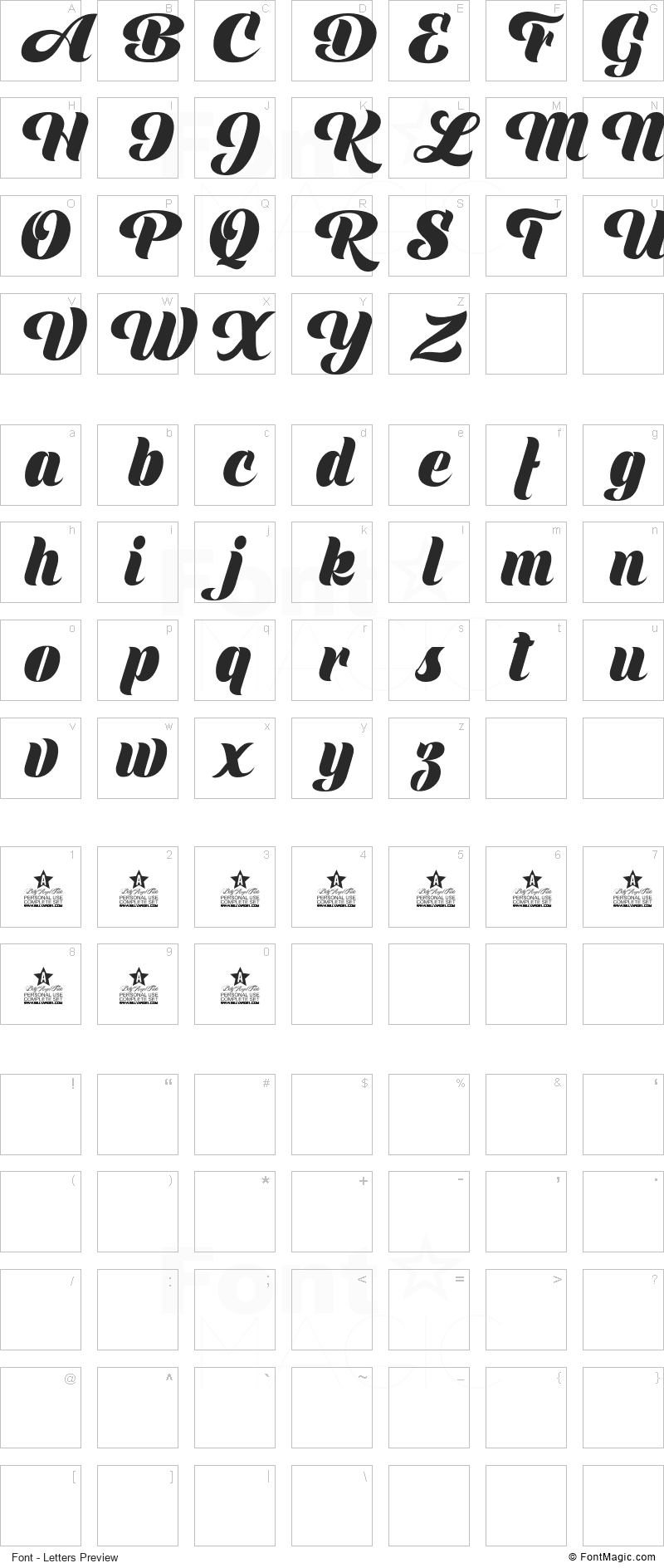 Shine Font - All Latters Preview Chart