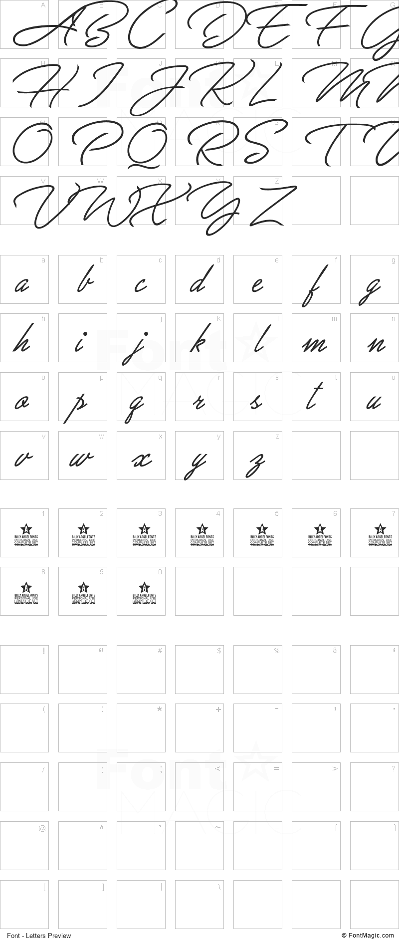 Great Day Font - All Latters Preview Chart