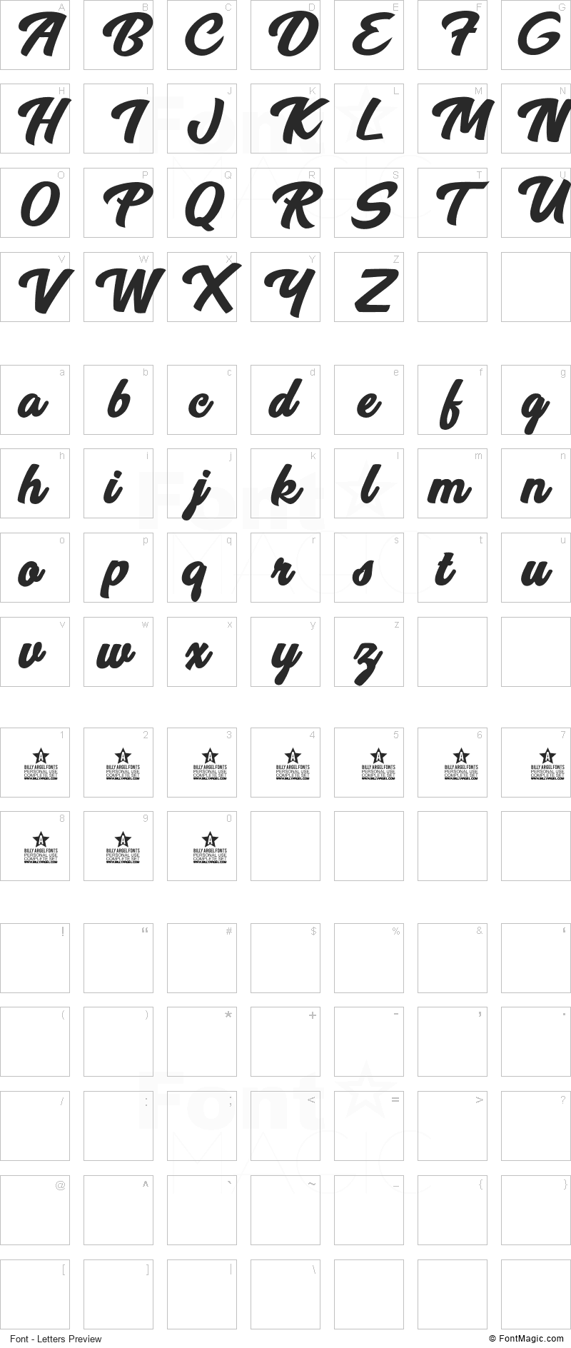 Breeze Font - All Latters Preview Chart