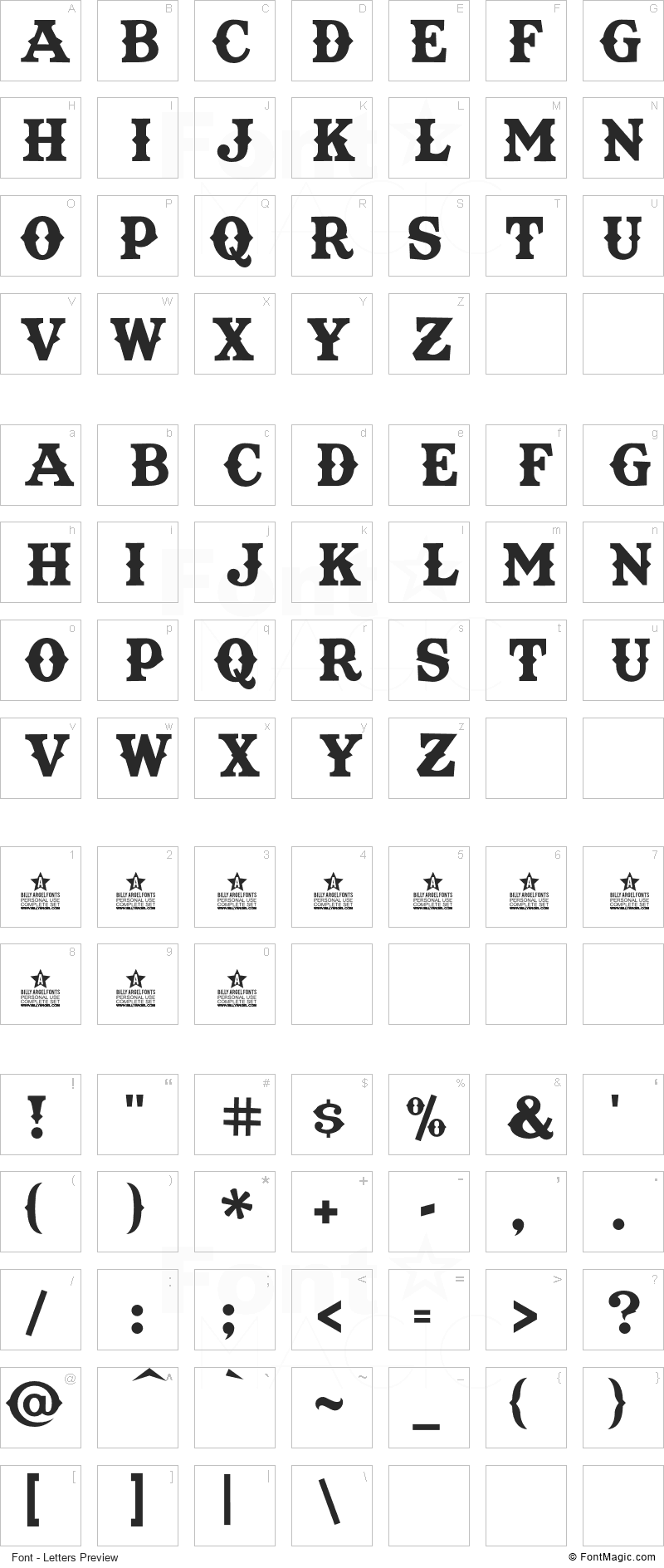 Texas Tango Font - All Latters Preview Chart