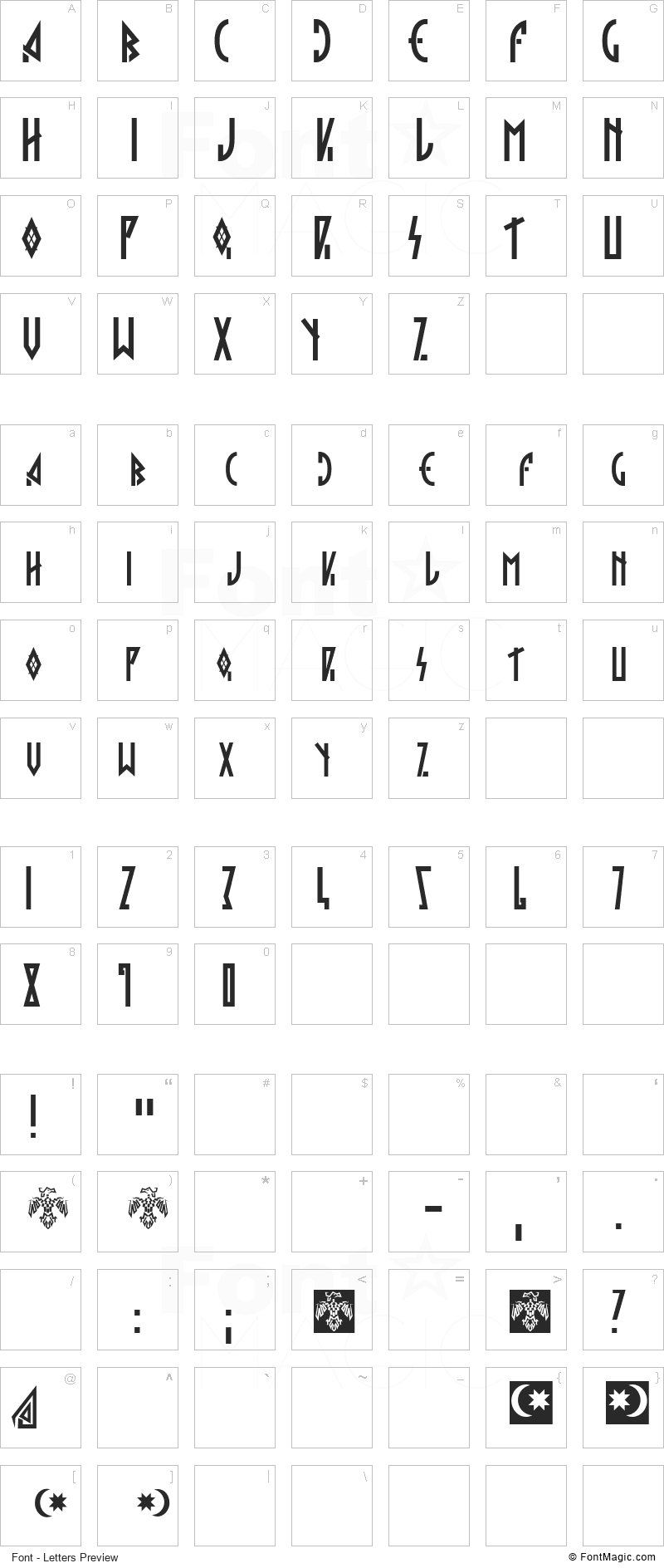 Hargita Font - All Latters Preview Chart