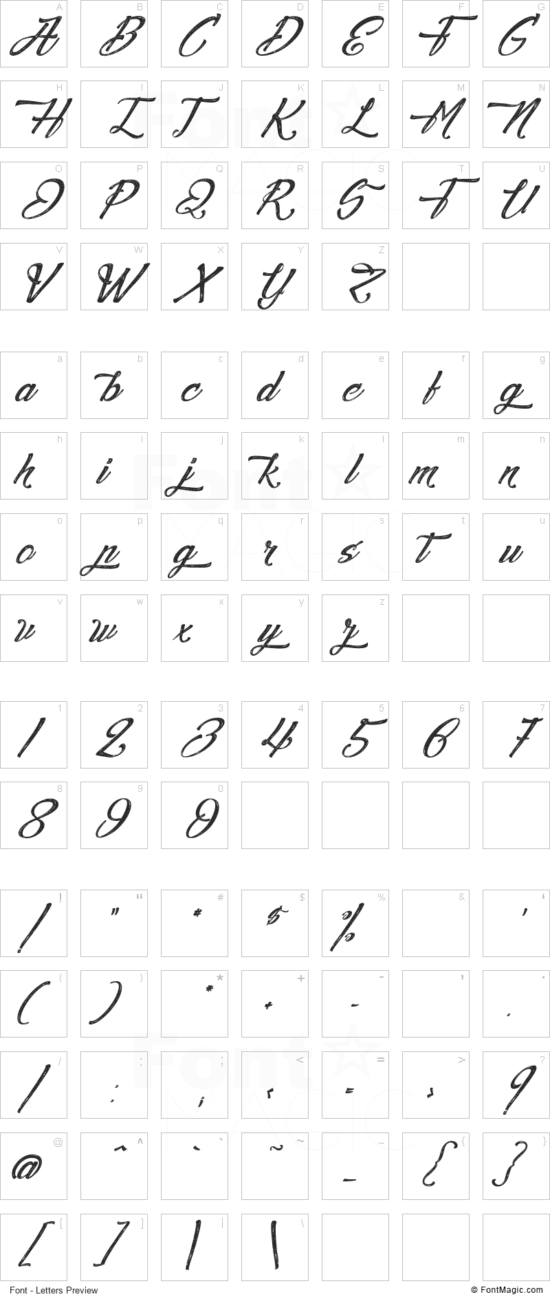 Agua de Jamaica Font - All Latters Preview Chart