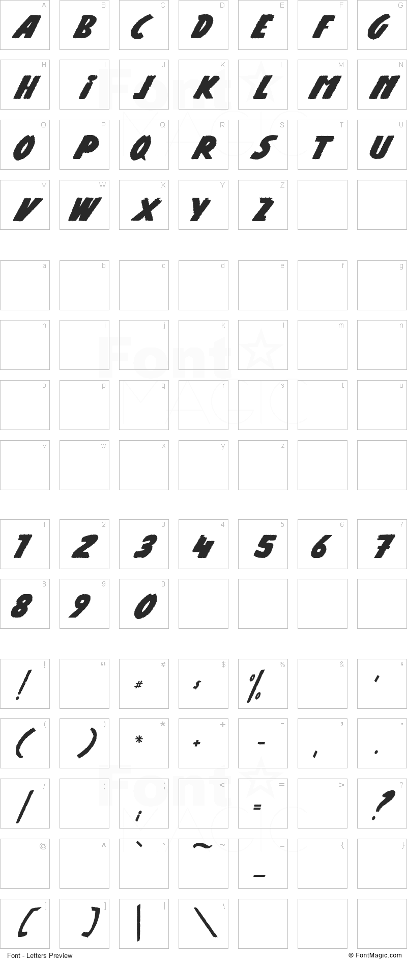 Road Of Deal Font - All Latters Preview Chart