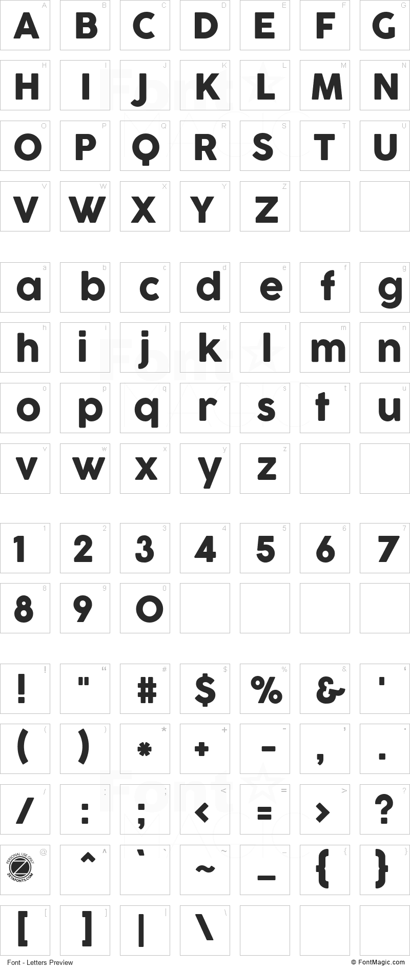 Cocogoose Font - All Latters Preview Chart