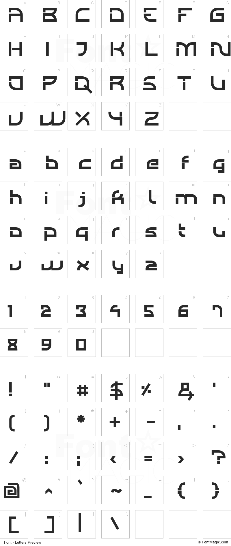 Individigital Font - All Latters Preview Chart